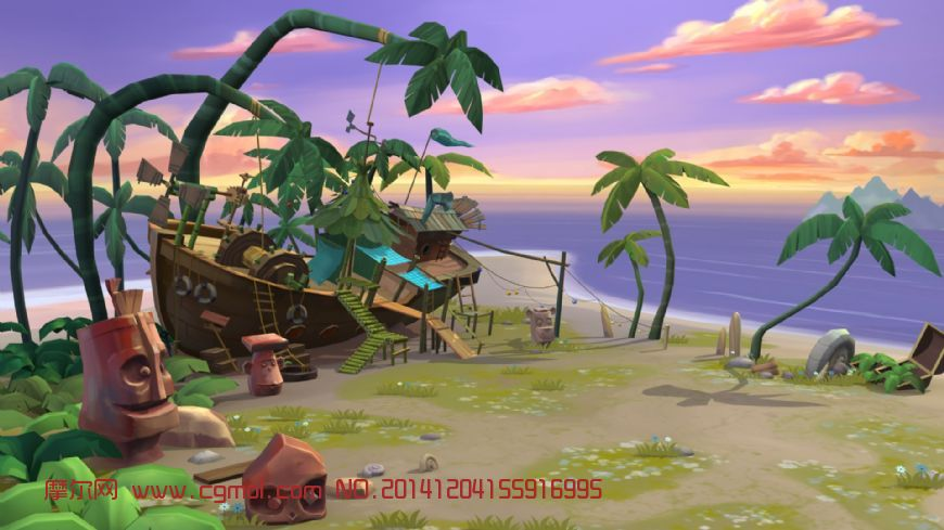场景模型 自然场景  关键词:场景海岛卡通q版