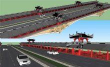 廊桥模型,sketchup 桥梁