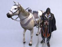 刺客信条忧郁男主与白马同行的次世代3D模型