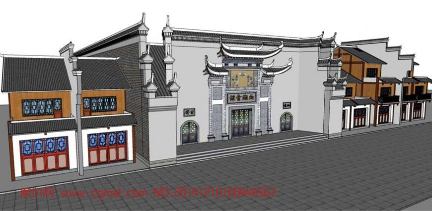 中式会馆门头_中式建筑_建筑模型_3d模型免费下载_网.图片