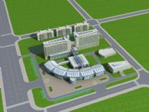 医院总体规划建筑鸟瞰模型