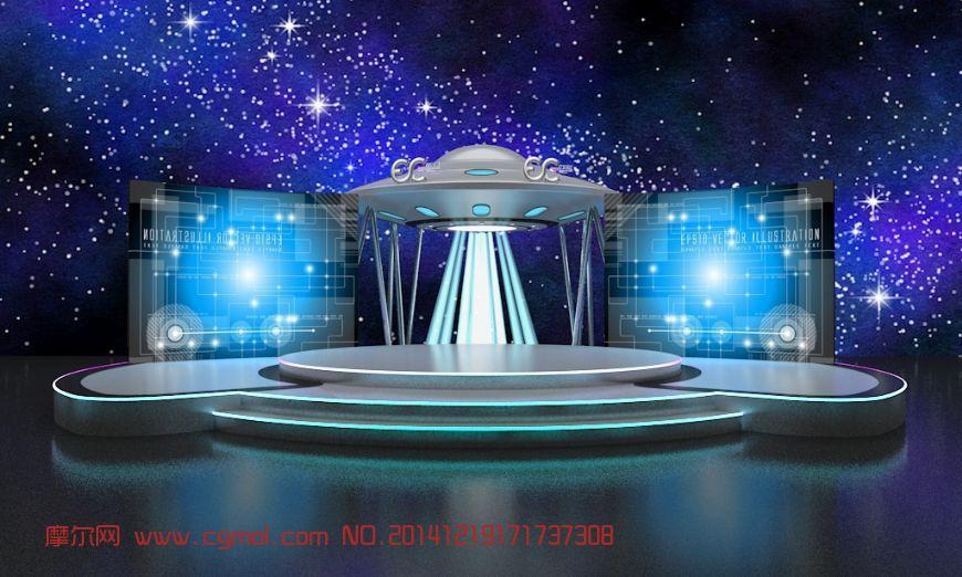 重庆服装_飞碟舞台_科幻场景_场景模型_3D模型免费下载_摩尔网www.cgmol.com