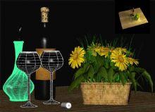 花篮酒瓶,桌面场景