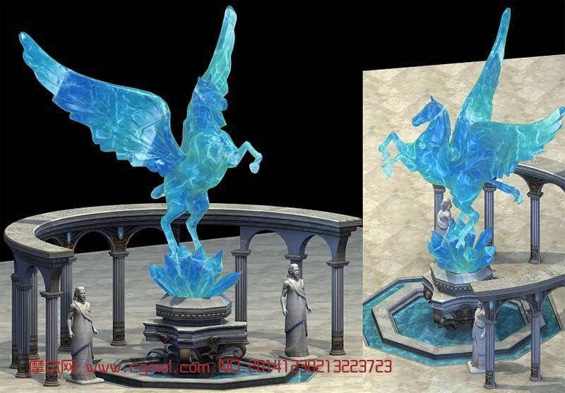 精致的玉雕飞马喷泉模型,贴图完整