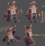 海盗BOSS,4个基本动作