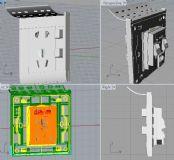 嵌入式五孔插座,模型细致,有电路结构