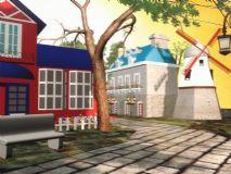 室外欧式建筑,风车,冷暖色调