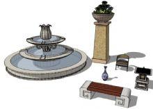 公园长椅,青花瓷,喷泉,景观灯,花坛,小品类