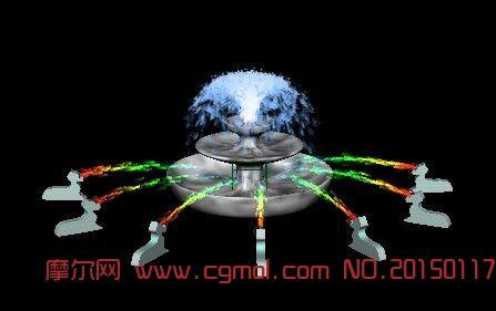 动态喷泉动画_现代场景_场景模型_3d模型免费下载_网.