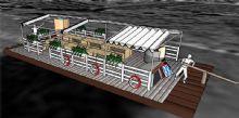 竹筏上的休闲餐厅