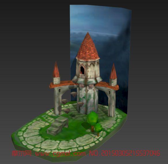 简易城堡_其他_场景模型_3d模型免费下载_摩尔网
