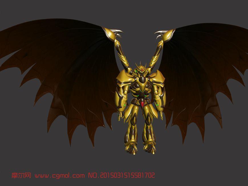 有翅膀的黄金机甲机器人模型