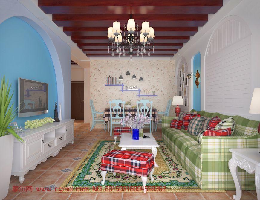 地中海风格客厅 家居装饰 室内模型 3D模型,3D素材免费下载图片