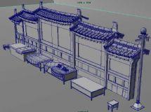 古代院墙摊位3D模型