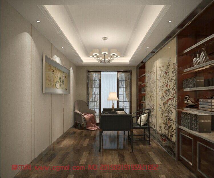 现代中式书房_家居装饰_室内模型_3d模型,3d素材免费
