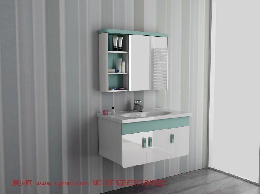 现代浴室柜_卫浴厨房_室内模型