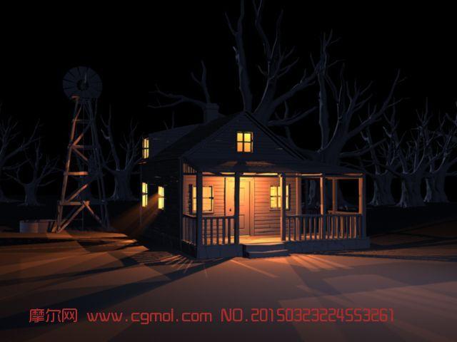 原创作品: 风车,枯树,美丽夜晚室外场景