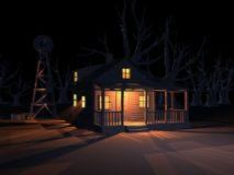 风车,枯树,美丽夜晚室外场景