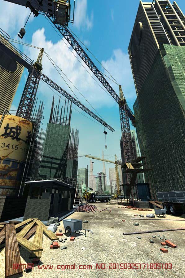 军舰鸟_超写实的建筑工地场景3D模型_现代场景_场景模型_3D模型,3D素材 ...