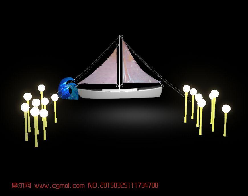 帆船简笔画带色