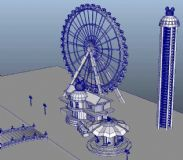 迪士尼游乐场3D模型,有摩天轮,跳楼机,obj,max,mb格式