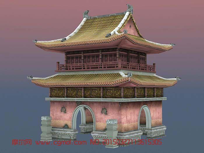 中式古代建筑风景简笔画_风景520