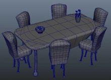 桌椅maya模型