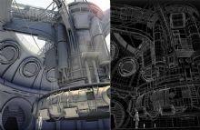 科幻世界的精细工业基地maya模型