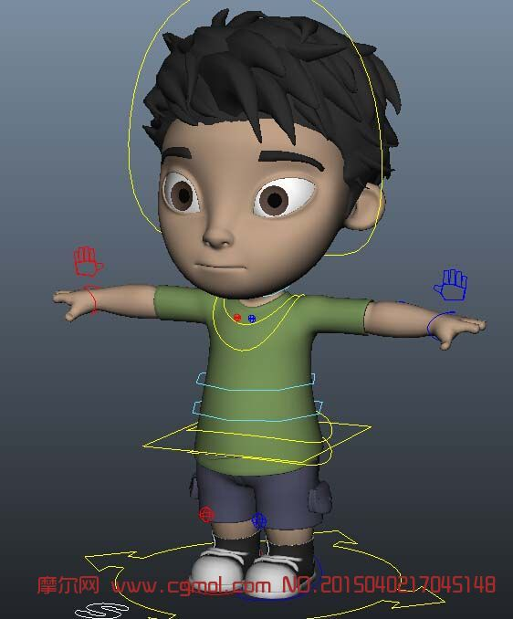 很萌的绑定小男孩maya模型_卡通角色_动画角图片