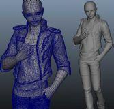 布线很好的精致步行女人maya模型