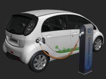电动汽车3D模型,带充电桩