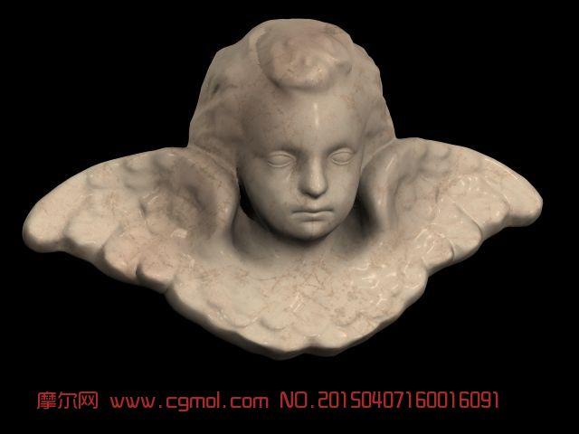 天使大理石头像3d模型