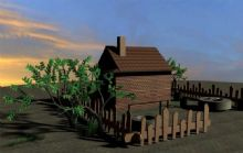 黄昏下的农家小院3D模型