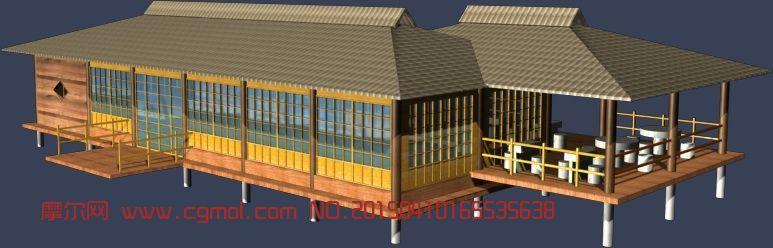 水上观景台,餐厅max模型