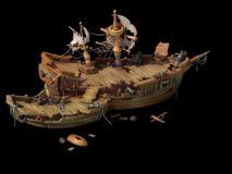 摧毁的船只,古代战船Max模型