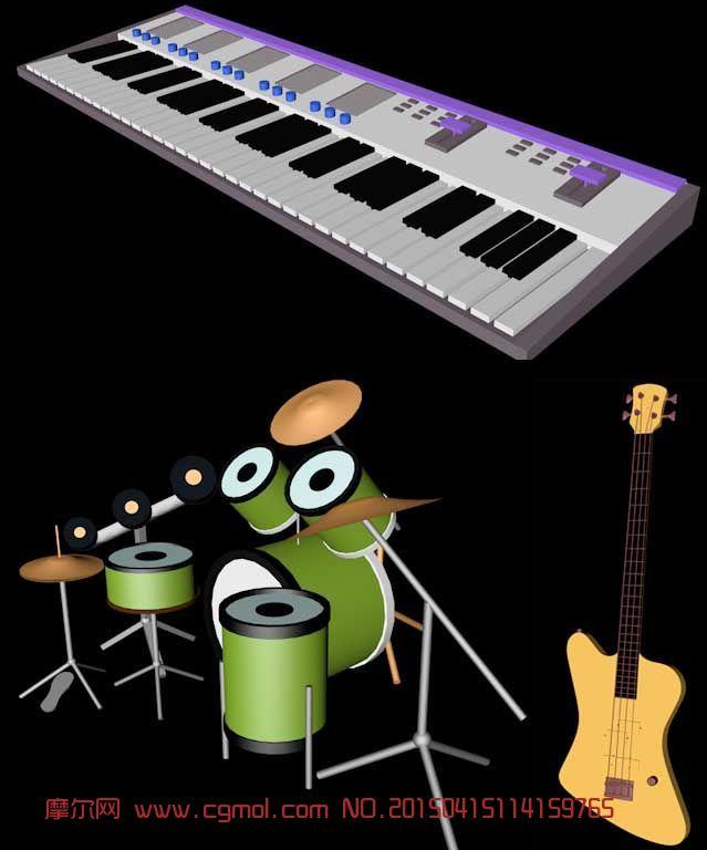 电子琴打架子鼓_电子琴,吉他,贝斯,架子鼓等乐器3D模型_数码产品_电子电器_3D模型 ...