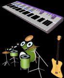 电子琴,吉他,贝斯,架子鼓等乐器3D模型