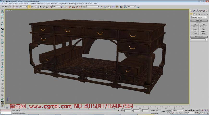 仿古八抽桌办公桌3D模型