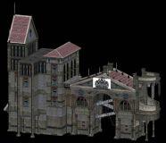 典型古代欧式建筑3D模型