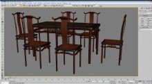 实木餐桌7件套3D模型