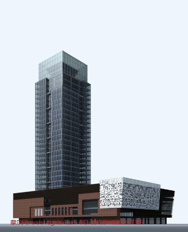 工建-公司办公大楼3D模型-已塌陷