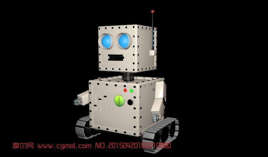 方形老式机器人3d模型