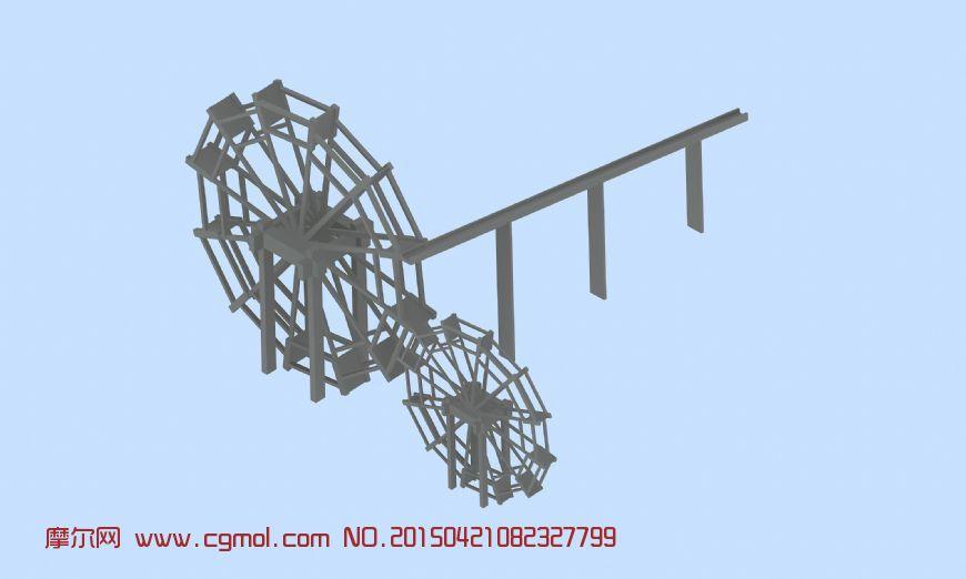 木质水车3D模型