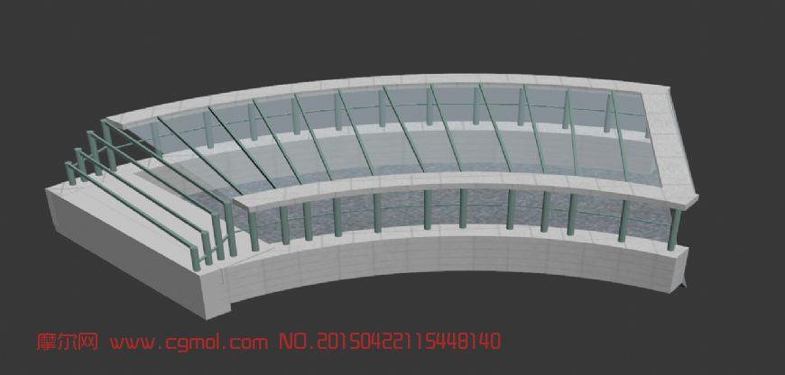 地下车库,地下通道3D模型