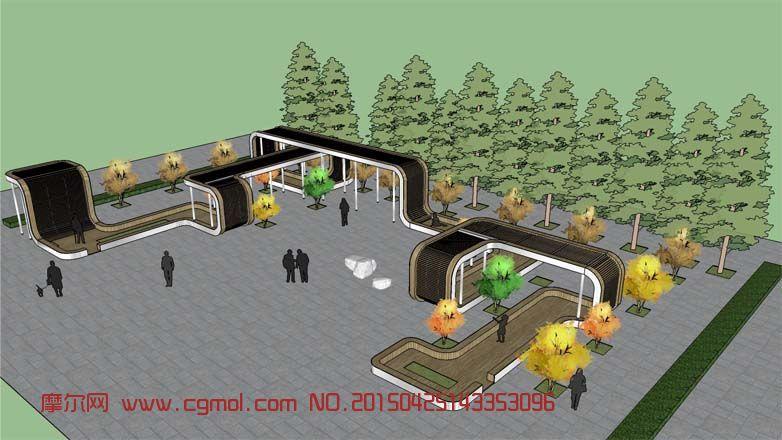 场景模型 现代场景  关键词:创意廊架公园景观