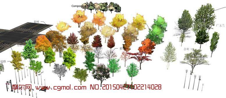 景观配景树木,路灯,椅子skp模型