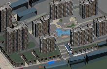 小区住宅鸟瞰模型
