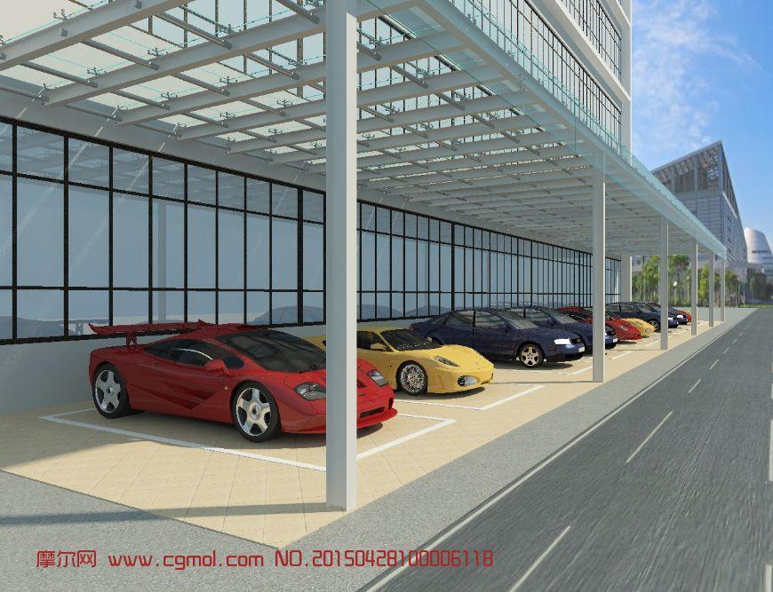 停车场3D模型_基础设施_建筑模型_3D地力,3模型生牌图片