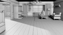 简单的室内客厅效果c4d模型