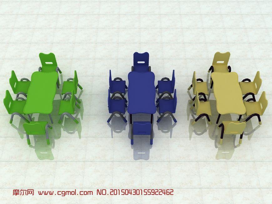 幼儿园小孩桌椅3d模型